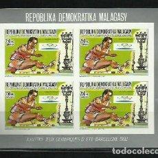 Sellos: MADAGASCAR 1987 - JJOO BARCELONA 92 - MINI HOJA EN BLOQUE DE 4 - ATLETISMO VALLAS - SIN DENTAR. Lote 276930138