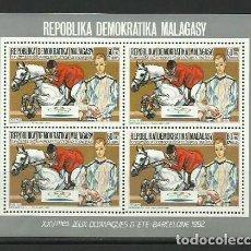 Sellos: MADAGASCAR 1987 - JJOO BARCELONA 92 - MINI HOJA BLOQUE DE 4 - HIPICA Y PICASSO - DENTADA. Lote 276936328