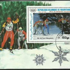Sellos: MAURITANIA 1987 HOJA BLOQUE SELLOS OLIMPIADAS CALGARY 87 - SKI - ESQUI. Lote 277221638