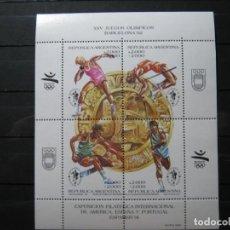 Sellos: ARGENTINA HOJA OLIMPIADAS BARCELONA 92 MNH** SIN CHARNELA LUJO!!!. Lote 282934348