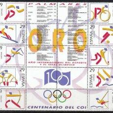 Sellos: EDIFIL Nº 3325/34 DEPORTES OLIMPICOS DE ORO EN BARCELONA 92, NUEVO ***, MINIPLIEGO. Lote 287248978