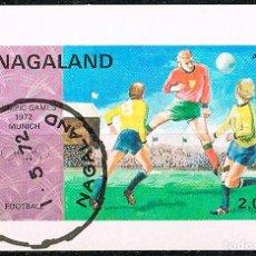 Sellos: NAGALAND, FUTBOL (JUEGOS OLIMPICOS DE MUNICH 1972), FUTBOL, HOJA BLOQUE SIN DENTAR USADA. Lote 287931163
