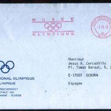 Sellos: GIROEXLIBRIS.JUEGOS OLÍMPICOS...LAUSANNE SOBRE DEL MUSEO OLIMPICO INTERNACIONAL CON METERS-STAPMS. Lote 288608048