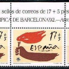 Sellos: EDIFIL 3213, JUEGOS OLIMPICOS BARCELONA 1992, ANTORCHA OLIMPICA, NUEVO *** 3 SELLOS CABECERA DE HOJA. Lote 288696783