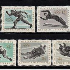 Sellos: AUSTRIA 974/80** - AÑO 1963 - JUEGOS OLIMPICOS DE INVIERNO DE INNSBRUCK. Lote 289328123