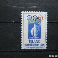 Sellos: ISLANDIA 1948 CINDERELLA OLIMPIADAS JUEGOS OLÍMPICOS MNH** SIN CHARNELA LUJO!!!. Lote 292308008