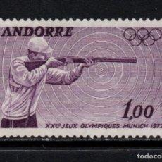 Sellos: ANDORRA 220** - AÑO 1972 - JUEGOS OLÍMPICOS DE MUNICH - TIRO. Lote 293828948