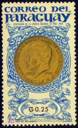 SELLO DE PARAGUAY - Cº DE LA EPOPEYA NACIONAL DE 1864-1870 NUEVO (SEÑAL DE FIJASELLOS) (Sellos - Extranjero - América - Paraguay)