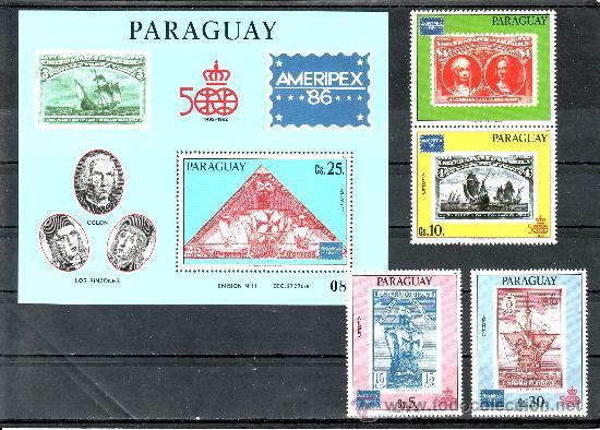 PARAGUAY A 1004/6, HB SIN CHARNELA, BARCO, DESCUBRIMIENTO, AMERIPEX 86 EXP. FIL. INTERNACIONAL (Sellos - Extranjero - América - Paraguay)