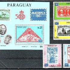 Sellos: PARAGUAY A 1004/6, HB SIN CHARNELA, BARCO, DESCUBRIMIENTO, AMERIPEX 86 EXP. FIL. INTERNACIONAL. Lote 46148275