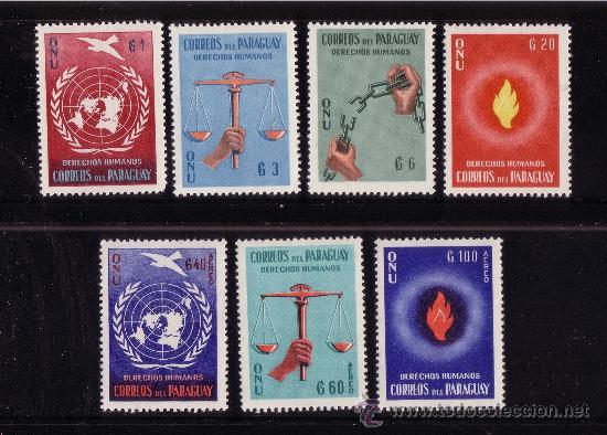 PARAGUAY 581/84 Y AÉREO 261/63*** - AÑO 1960 - DECLARACION UNIVERSAL DE LOS DERECHOS HUMANO (Sellos - Extranjero - América - Paraguay)