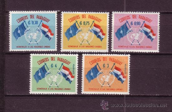 PARAGUAY 585/87 Y AÉREO 264/65*** - AÑO 1960 - 15º ANIVERSARIO DE NACIONES UNIDAS (Sellos - Extranjero - América - Paraguay)