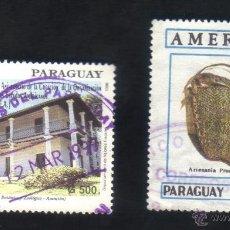 Sellos - lote 2 sellos usados, diferentes, paraguay. - 48311235