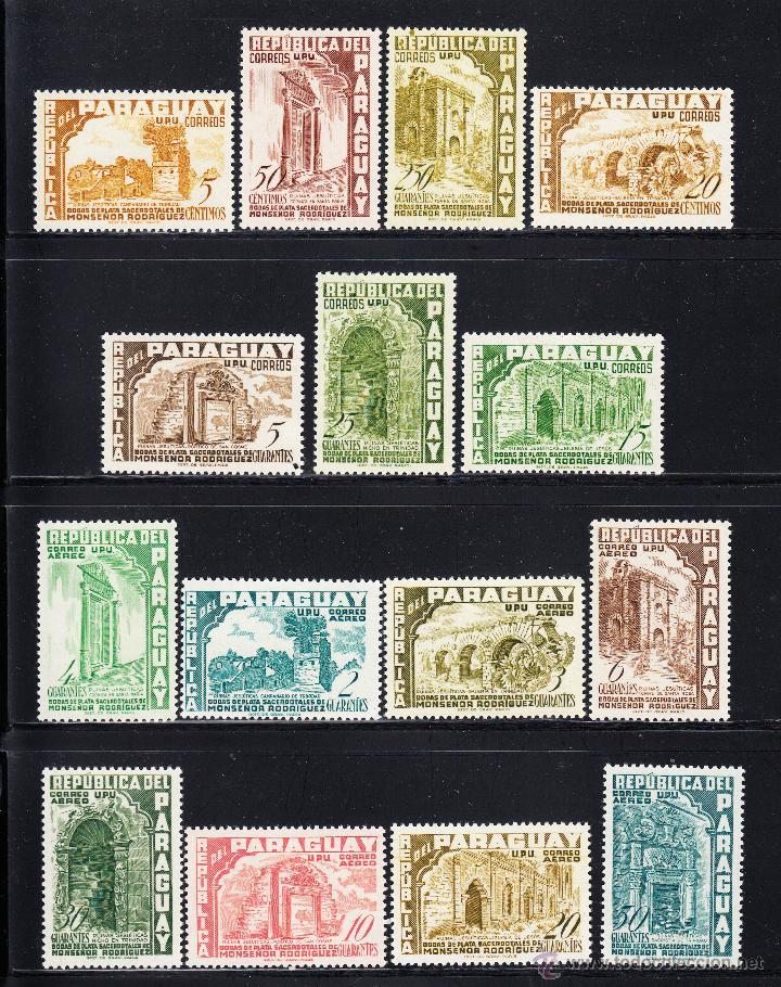 PARAGUAY 511/17 Y AEREO 217/24** - AÑO 1955 - ARQUITECTURA RELIGIOSA (Sellos - Extranjero - América - Paraguay)