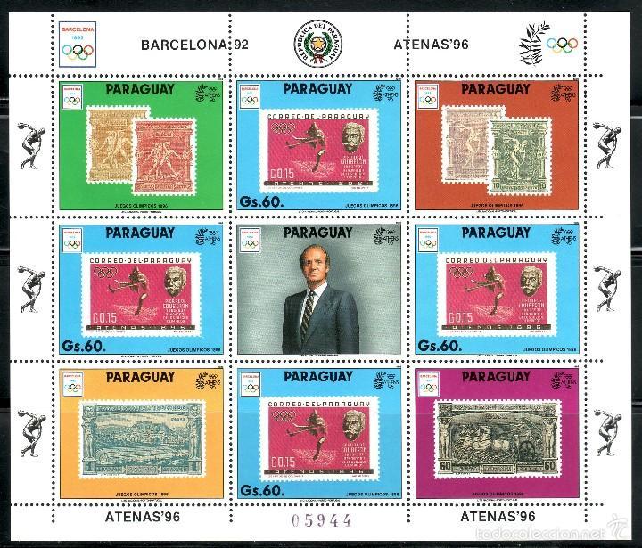 TEMA REY J.CARLOS I. PARAGUAY 2494A. BARCELONA 92-ATENAS 96 (Sellos - Extranjero - América - Paraguay)