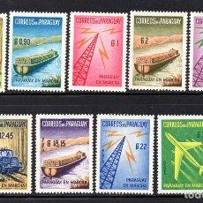 Sellos: PARAGUAY 593/97 Y AEREO 270/73** - AÑO 1961 - PARAGUAY EN MARCHA - BARCOS - AVIONES - CAMIONES. Lote 64649135