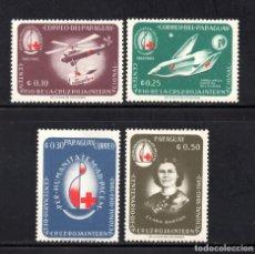 Sellos: PARAGUAY 752/55** - AÑO 1964 - CENTENARIO DE LA CRUZ ROJA INTERNACIONAL. Lote 68710601