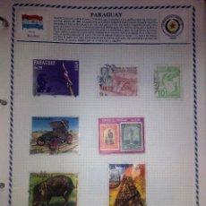 Sellos: PARAGUAY, HOJA CON 7 SELLOS USADOS DIFERENTES CON CHARNELAS. Lote 91375685