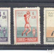 Sellos: PARAGUAY, 1960 JUEGOS OLIMPICOS, NUEVOS CON CHARNELA. Lote 113572399