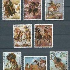 Sellos: PARAGUAY,1976,OBRAS PICTÓRICAS DEL OESTE AMERICANO,USADOS,YVERT 1527 - 1531 Y 741 A 743 AÉREO.. Lote 118508844