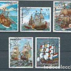 Sellos: PARAGUAY,PINTURAS DE BARCOS,1976,USADOS,YVERT 1509-1513. Lote 120591843
