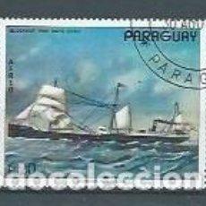 Sellos: PARAGUAY,PINTURAS DE BARCOS,1976,USADOS,YVERT 737,AÉREO. Lote 120591847
