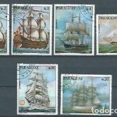 Sellos: PARAGUAY,PINTURAS DE ANTIGUOS BARCOS ALEMANES,1976,USADOS,YVERT 1523-1526 Y 739-740,AÉREO. Lote 120591851