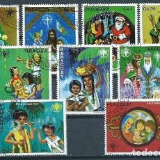 Sellos: PARAGUAY,1980,NAVIDAD,USADOS,YVERT 1770-1776 Y 841-842 AÉREO. Lote 152334786