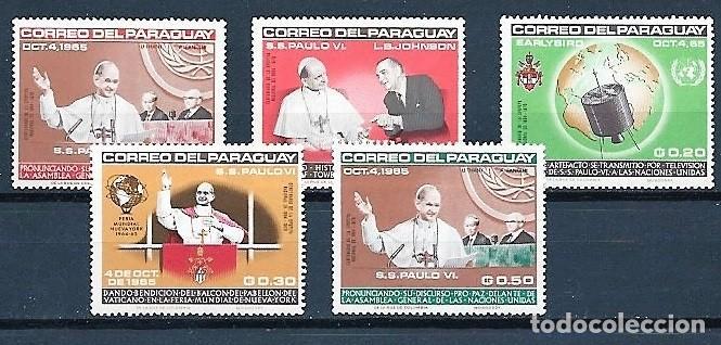 PARAGUAY,1965,VISITA DE PAULO VI A LAS NACIONES UNIDAS,NUEVOS,MNH**,YVERT 818-822 (Sellos - Extranjero - América - Paraguay)