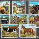 Sellos: PARAGUAY,1976,ANIMALES DE GRANJA,YVERT 1499-1503 Y 729-731 AÉREO,USADO. Lote 156186758