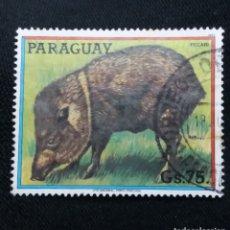 Sellos: PARAGUAY, 75 GUARANIES, PECARI, AÑO 1980.. Lote 183192893