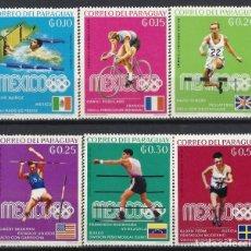 Sellos: PARAGUAY 1969 - GANADORES DE LA MEDALLA DE ORO EN LOS JJOO DE MEXICO, S.COMPLETA - **/*. Lote 186246447