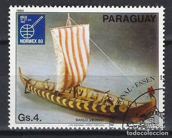 PARAGUAY 1980 - EXPO. INTER. DEL SELLO, PINTURAS DE BARCOS - SELLO USADO (Sellos - Extranjero - América - Paraguay)
