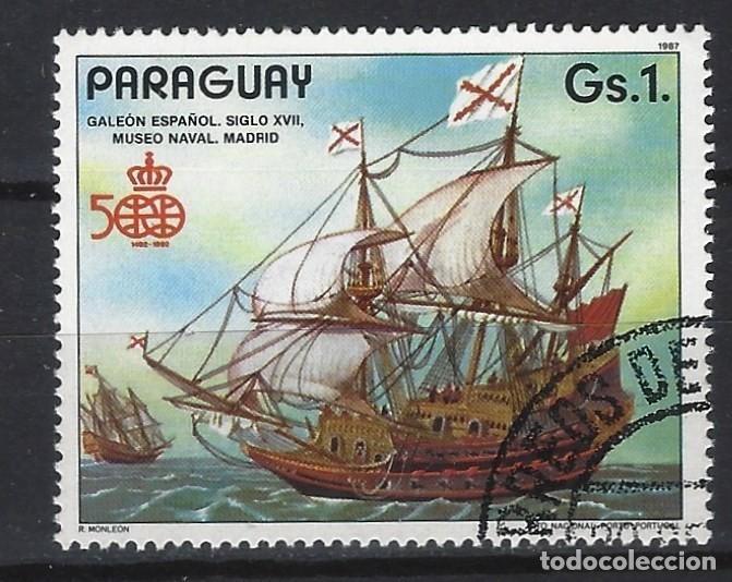 PARAGUAY 1987 - 500 ANIV. DESCUBRIMIENTO DE AMÉRICA, GALEÓN ESPAÑOL - SELLO USADO (Sellos - Extranjero - América - Paraguay)