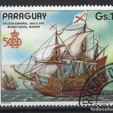 Sellos: PARAGUAY 1987 - 500 ANIV. DESCUBRIMIENTO DE AMÉRICA, GALEÓN ESPAÑOL - SELLO USADO. Lote 186250252