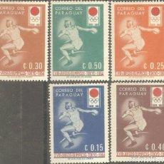 Sellos: PARAGUAY,5 VALORES,1964 J.J.O.O.,NUEVOS,GOMA ORIGINAL,SEÑAL FIJASELLOS. Lote 186292031