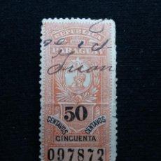 Sellos: REP. PARAGUAY, 50 CENTAVOS, REVENUE, AÑO 1910,. Lote 196377031