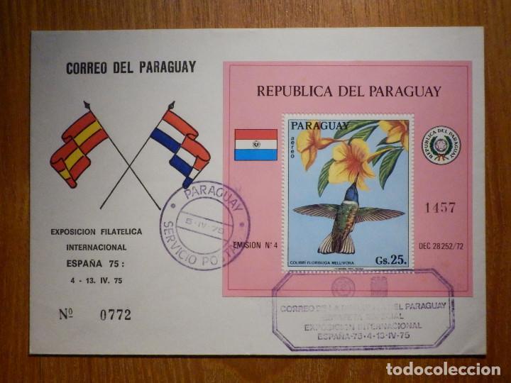SOBRE PRIMER DÍA - CORREO DEL PARAGUAY - 5 DE ABRIL DE 1975 - EXPOSICIÓN FILATÉLICA ESPAÑA 75 (Sellos - Extranjero - América - Paraguay)