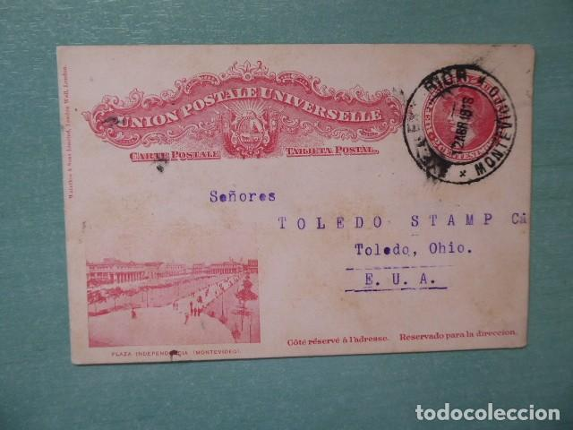 CARTA POSTAL PZA, INDEPENDENCIA MONTEVIDEO, 1912, A TOLEDO OHIO, (Sellos - Extranjero - América - Paraguay)