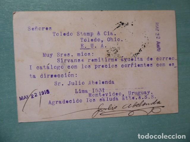 Sellos: carta postal pza, independencia montevideo, 1912, a toledo ohio, - Foto 2 - 223204041