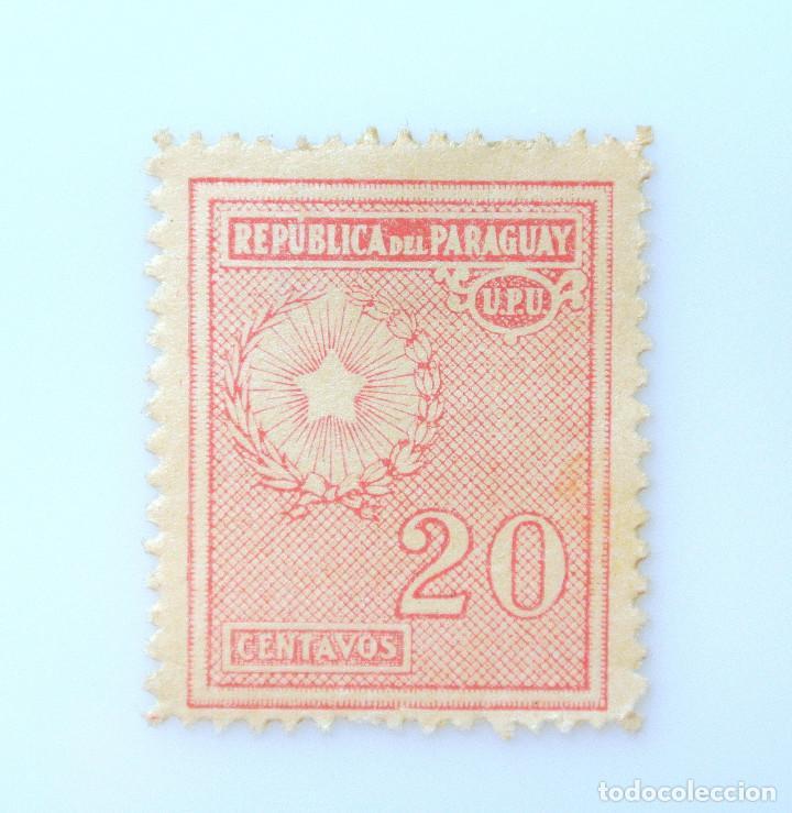 SELLO POSTAL PARAGUAY 1935, 20 C, ESCUDO DE ARMAS, EMBLEMA NACIONAL, SIN USAR (Sellos - Extranjero - América - Paraguay)