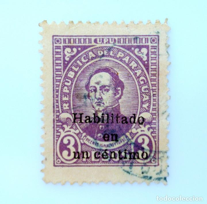 SELLO POSTAL PARAGUAY 1944, 1 C, VICENTE IGNACIO ITURBE ,OVPT. HABILITADO 1 CÉNTIMO, USADO (Sellos - Extranjero - América - Paraguay)