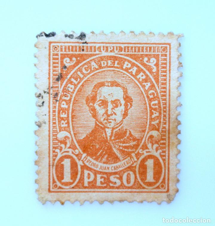 SELLO POSTAL PARAGUAY 1934, 1 PESO, PEDRO JUAN CABALLERO, USADO (Sellos - Extranjero - América - Paraguay)