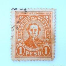 Sellos: SELLO POSTAL PARAGUAY 1934, 1 PESO, PEDRO JUAN CABALLERO, USADO. Lote 233271410