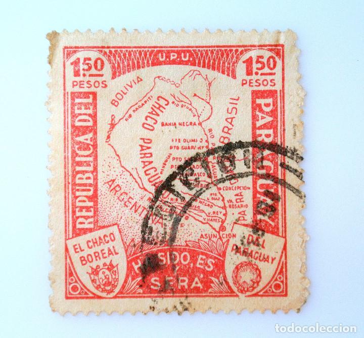 SELLO POSTAL PARAGUAY 1935, 1,50 PESOS, EL CHACO BOREAL DEL PARAGUAY, USADO (Sellos - Extranjero - América - Paraguay)