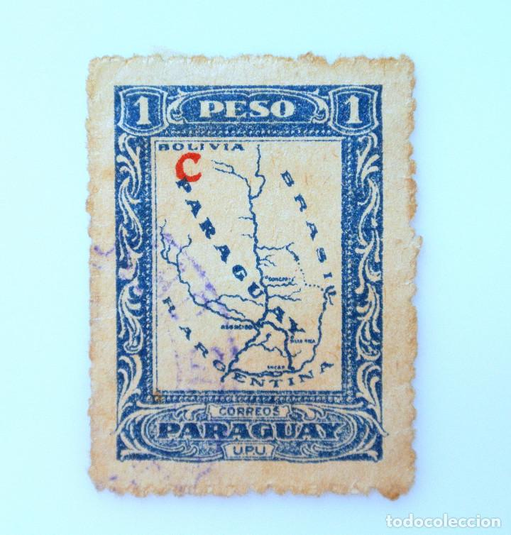 SELLO POSTAL PARAGUAY 1924, 1 PESO, MAPA DE PARAGUAY, USADO (Sellos - Extranjero - América - Paraguay)
