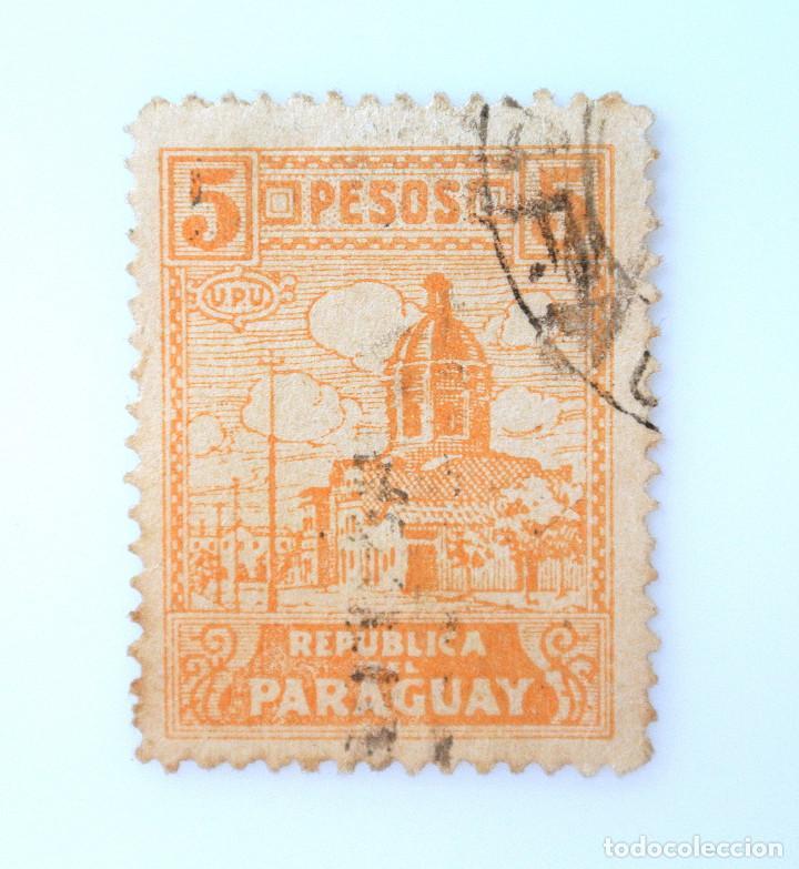 SELLO POSTAL PARAGUAY 1938, 5 PESOS, CATEDRAL ENCARNACIÓN, ASUNCIÓN, USADO (Sellos - Extranjero - América - Paraguay)
