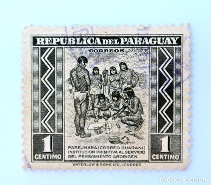 SELLO POSTAL PARAGUAY 1944, 1 CÉNTIMO, PAREJHARA CORREO GUARANI, USADO (Sellos - Extranjero - América - Paraguay)