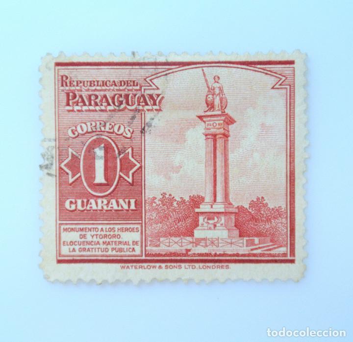 SELLO POSTAL PARAGUAY 1945, 1 GS, MONUMENTO A LOS HEROES DE YTORORO, USADO (Sellos - Extranjero - América - Paraguay)
