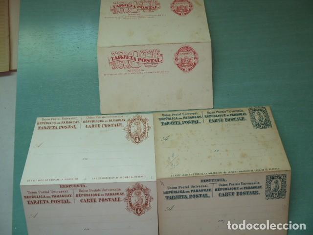 TRES ENTEROS POSTAL DE 1880 URUGUAY Y PARAGUAY DOBLES SIN CIRCULAR (Sellos - Extranjero - América - Paraguay)